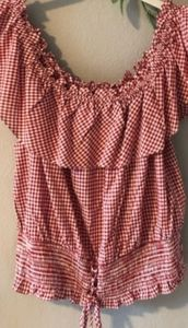 American rag red & white check adorable top